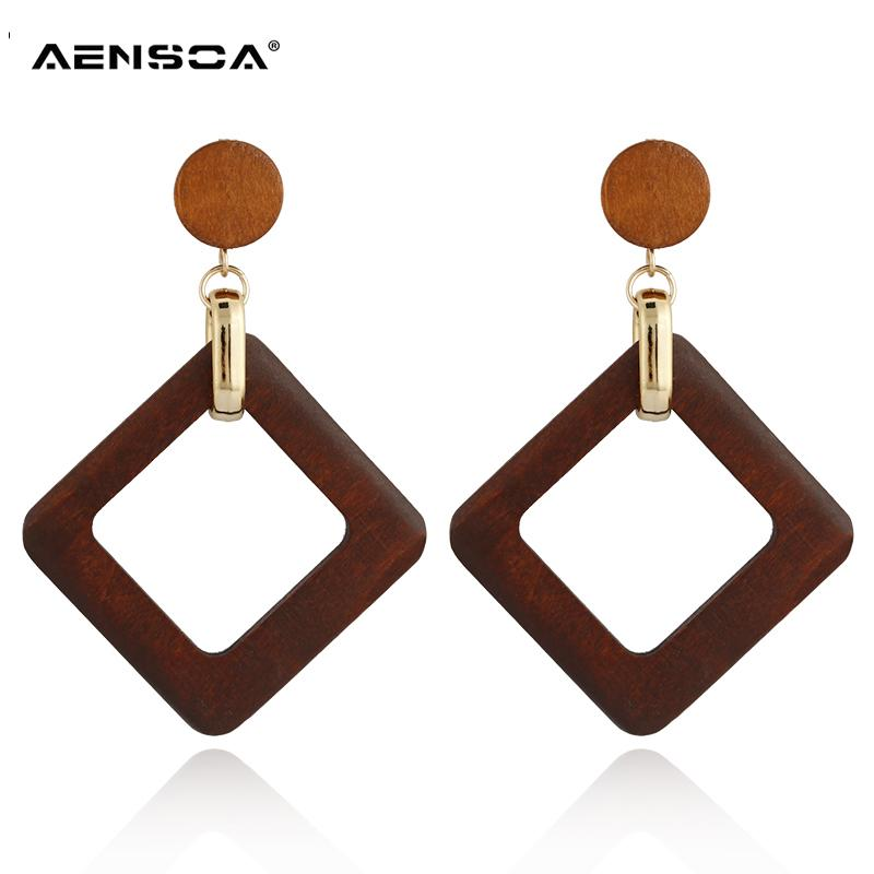 a32de346e 2019 AENSOA Vintage Square Wooden Earrings Geometric Natural Wood Statement  Trendy Earrings For Women 2018 Jewelry Gift From Naughtie, $35.52 |  DHgate.Com