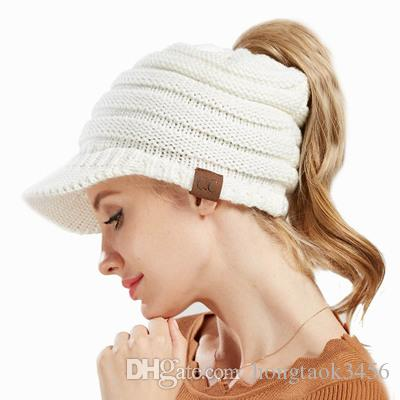 3487b41d6e3 WHOLESALE CC Ponytail Baseball Hats Knitted Caps for Women Girl Fashion Knit  Woolen Hat Winter Warm Outdoor Skiing Sport Hats CC Ponytail Knitted Cap  Women ...