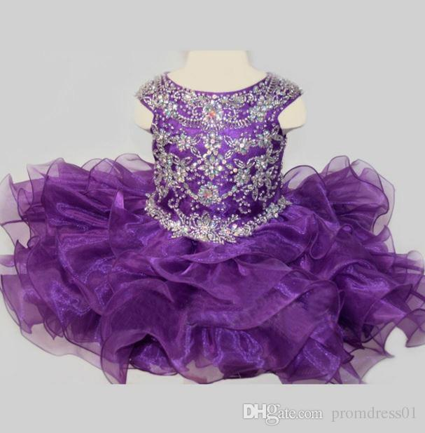 Hot Selling Sweet Purple Ball Gowns Organza Girl's Pageant Dresses Scoop Flower Girl Dresses with Sparkly Beaded