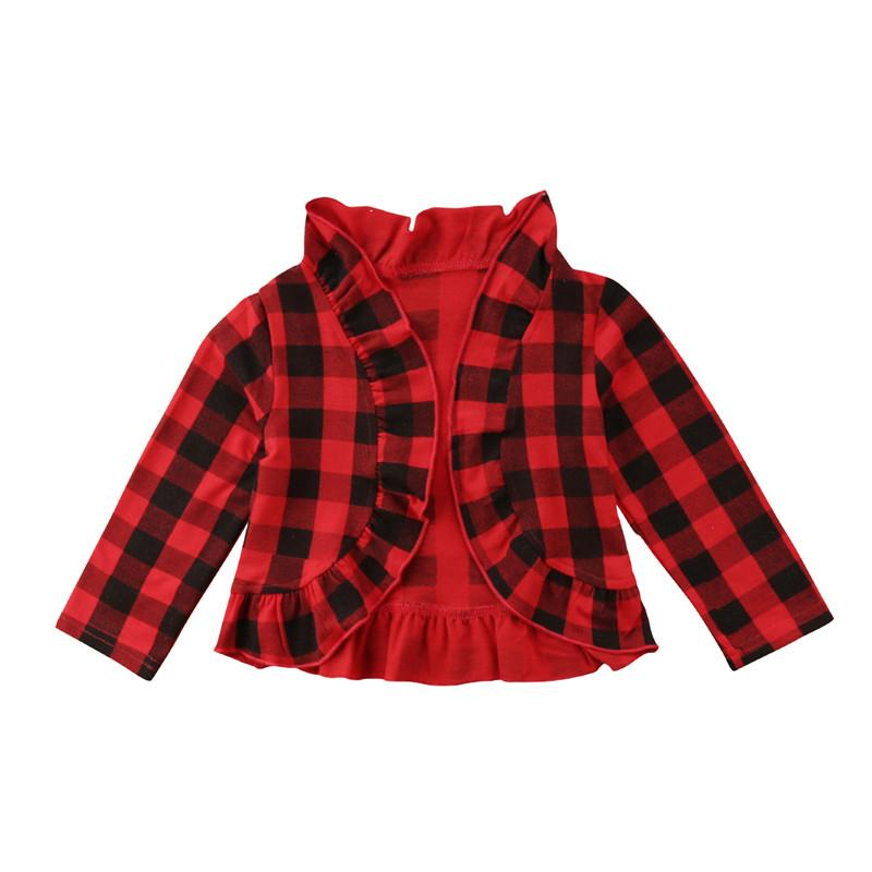 047b1c9eca6 Toddler Kids Baby Girls Coat Jacket Checked Plaid Long Ruffle Sleeve  Outerwear Cotton Autumn Girl Clothes