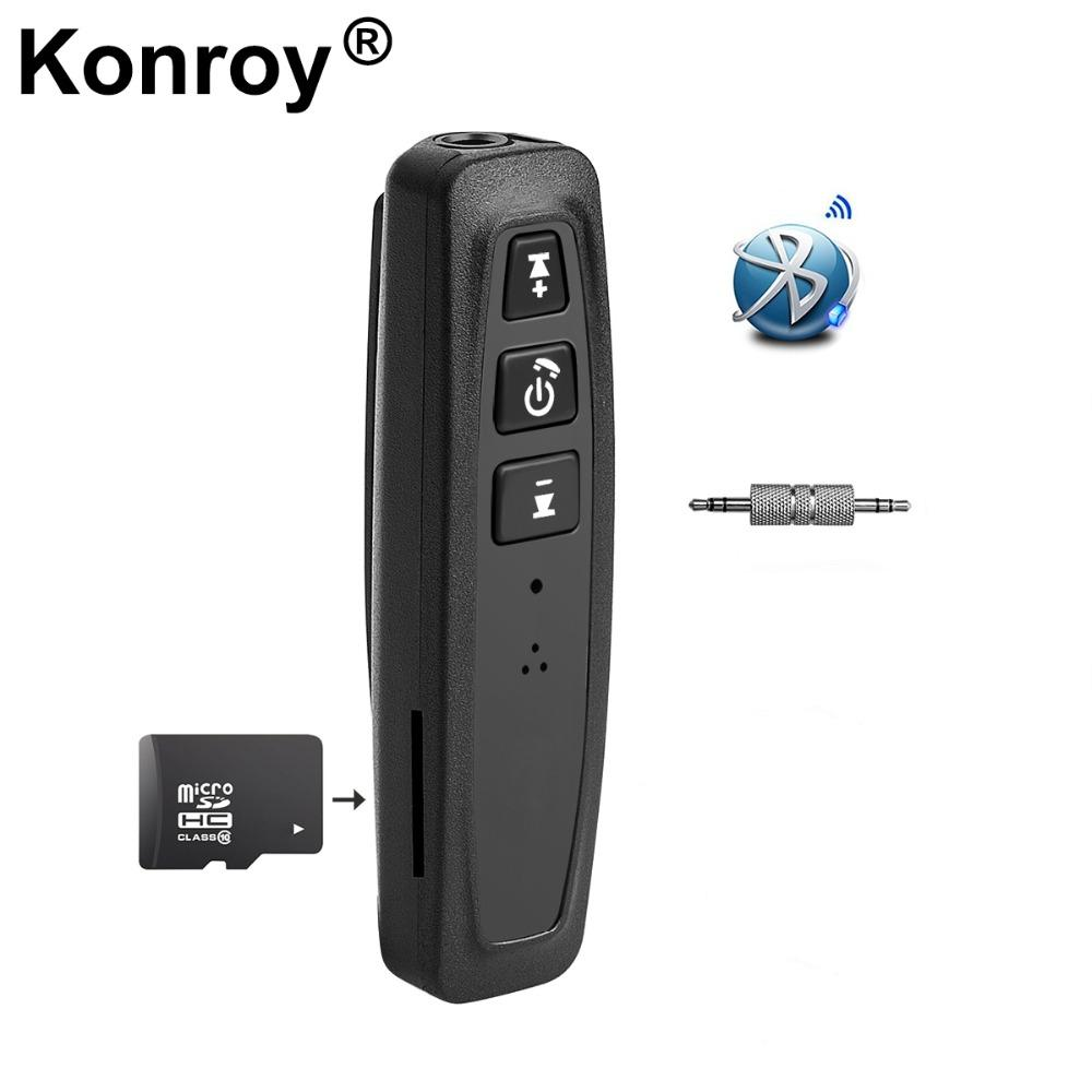 Konroy Bluetooth 4 0 Adapter 3 in 1 USB Bluetooth Receiver 3 5mm Audio Jack  TF Card Reader MIC Call Support For Car Speaker
