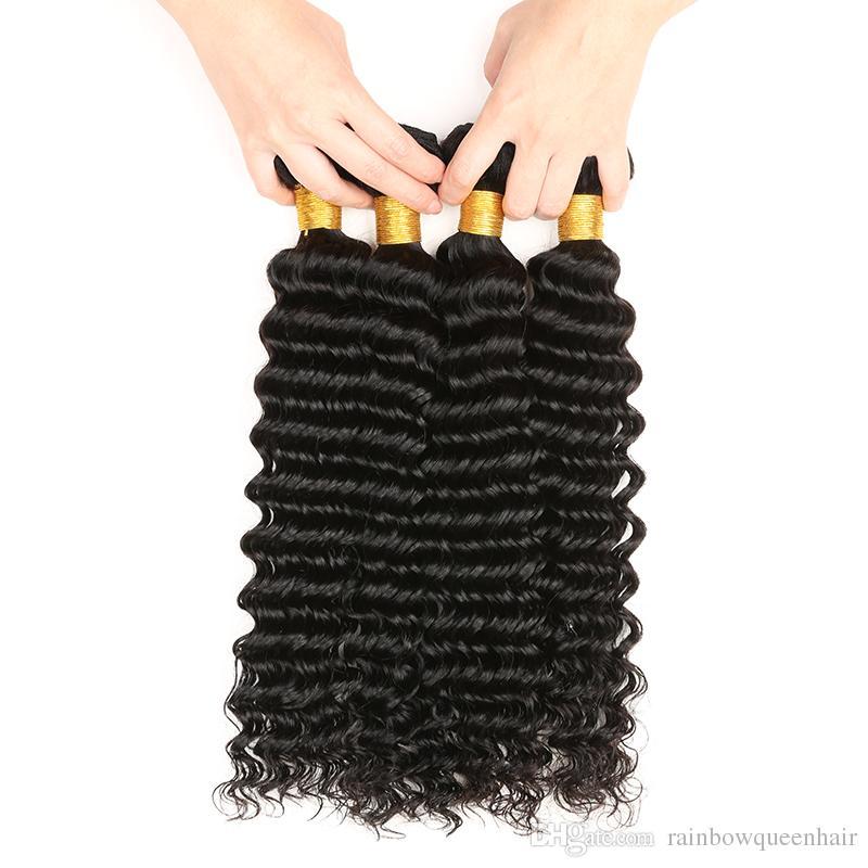 8A Unprocessed Peruvian virgin bundles Deep Wave Curly Hair Weft 3/Human Hair Peruvian Indian Malaysian Hair Extensions Dyeable