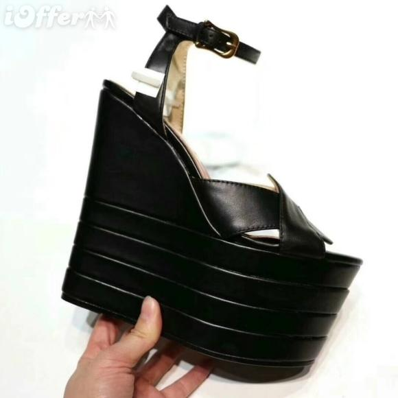 42f2fc7611d6 BLACK 10.5CM WOMEN WEDGE HIGH HEEL STRAPPY SANDAL SHOES Men Women FASHION  SHOWS Sandals Slippers Mules Wedges Slides Birkenstock Cowboy Boots From ...
