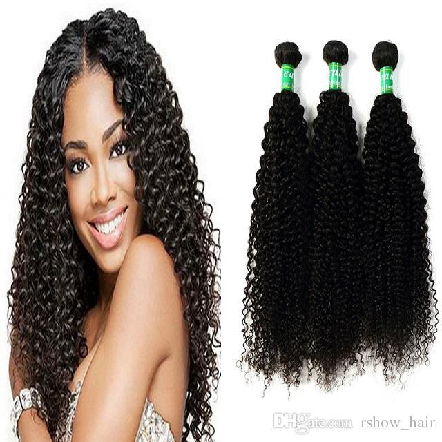Rshowhair 10a Peruvian Curly Hair Weave 3 Bundles Virgin Kinky