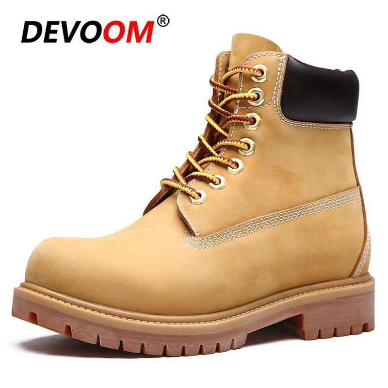 1795ef2e Compre 2019 2018 Nuevos Hombres Botas Martin De Cuero Genuino Zapatos De  Invierno Para Hombres Zapatos De Trabajo Antideslizantes Botines Amarillos  Unisex ...