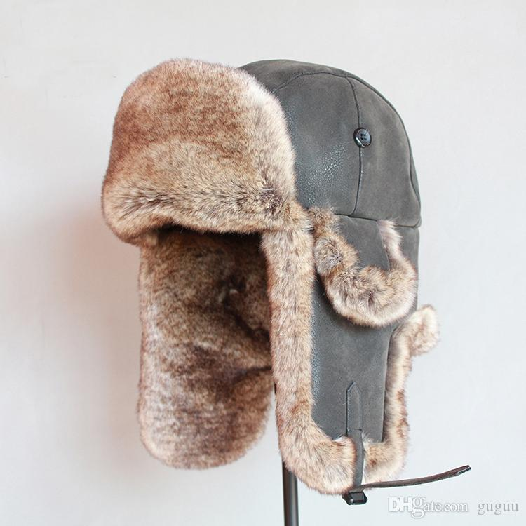 6e0939f1a Mens homme pu leather faux fur thick warm chapka russe hombre winter  wind-proof cool-proof aviator caps ushanka gorro ruso for brother lover