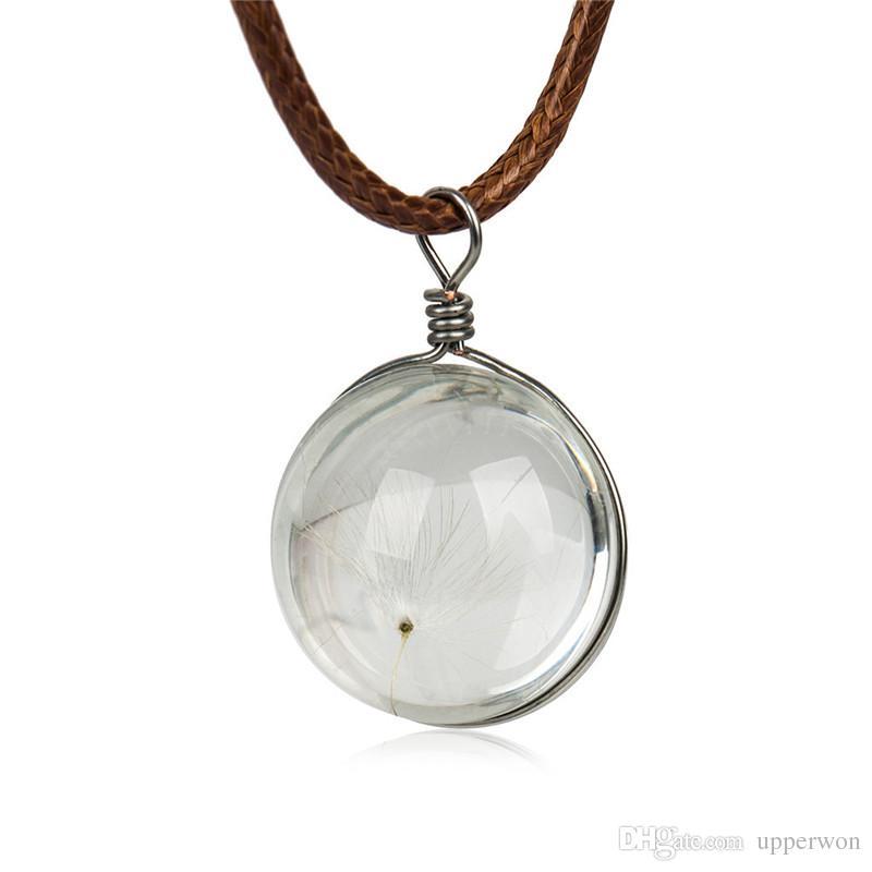 Fatto a mano Boho resina trasparente fiore secco Daisy Collana a sfera Catena colore argento Bianco rotondo 1 pezzo