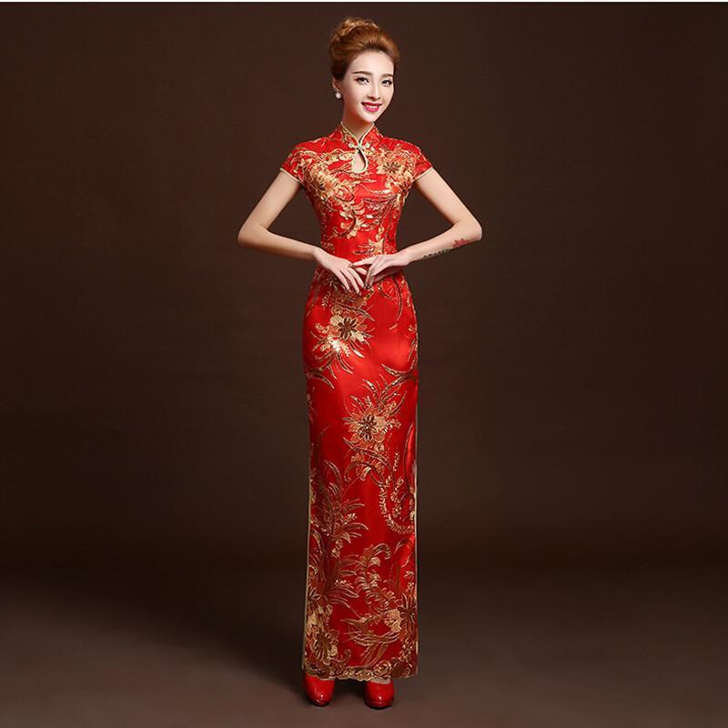 5190c291f Compre es Moda Rojo Novia De Encaje Boda Qipao Largo Cheongsam Vestido  Tradicional Chino Delgado Retro Qi Pao Mujeres Vestidos Antiguos A  91.08  Del Dalivid ...