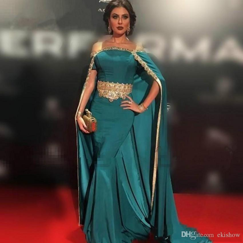 820e3e6790cee 2018 New Satin Hunter Green Lace Applique Mermaid Evening Dresses Gold  Beaded Party Pageant Prom Gowns Cloak Long Dubai Arabic Custom Made