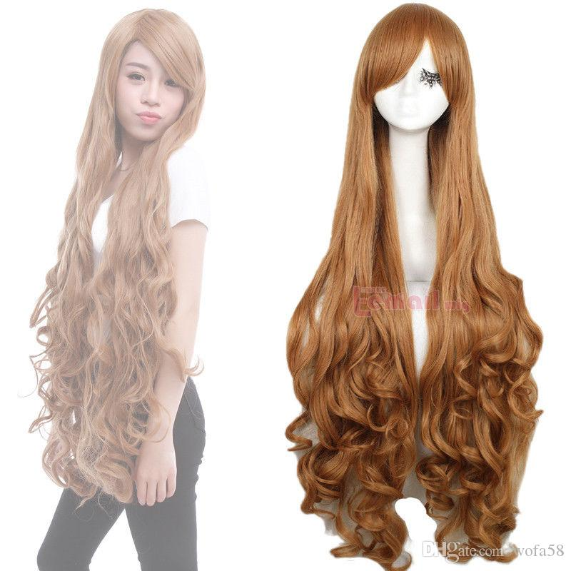 Synthetic Light Brown 100cm Long Curly Wavy Hair Party Anime Cosplay Wigs  Half Cap Wigs Stocking Cap Wig From Wofa58 012c63b5d49e