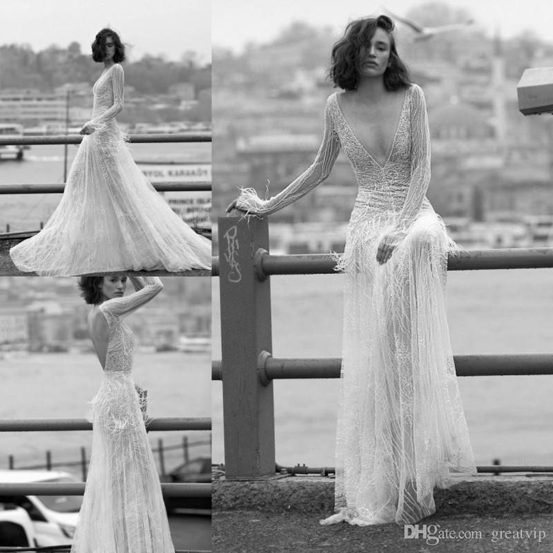 compre liz martinez 2019 beach a line vestidos de novia de plumas