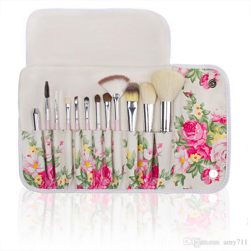 Hot New Makeup brushes makeup brush Professional Brush sets with Rose Printed Pouch Goat hair DHL shipping+Gift