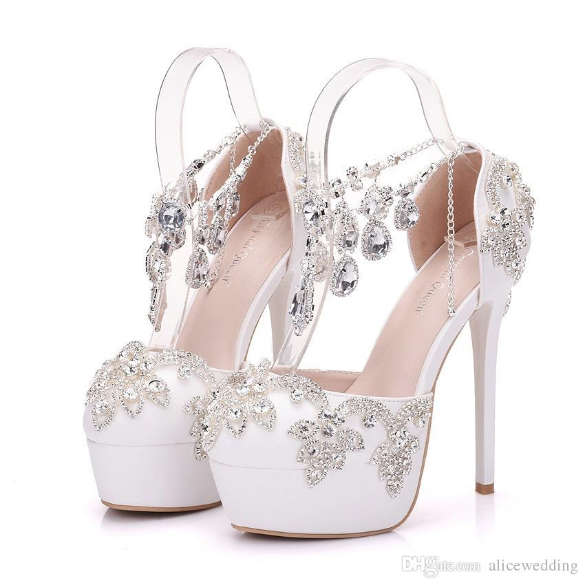 da9ff42721 New Handmade Beautiful Round Toe Shoes for Women White Rhinestone ...