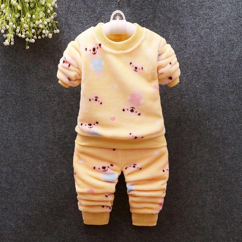 e2e4bb915 2019 Girls Clothing Sets Winter Baby Girls Cartoon Flannel Pajamas Sets Kids  Children Boys Fleece Velvet Thick Warm Tracksuit Set From Fengyang1101, ...