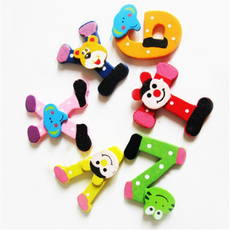 New Funny Cartoon A-Z Wooden Letter Alphabet Fridge Magnets for Baby Kids Education