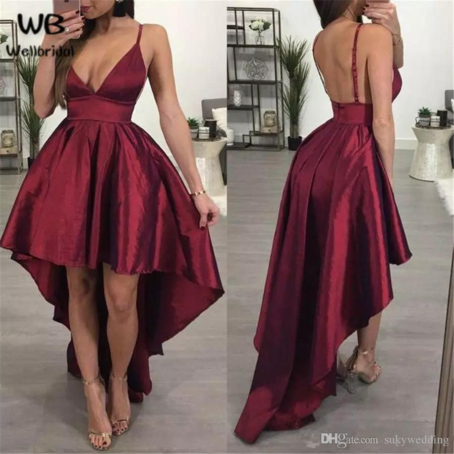 8a3e432bba9b Arabic Homecoming Dresses Burgundy High Low Spaghetti Straps Satin African  Short Prom Dresses Cocktail Dresses Graduation Party Club Wear Lace Formal  Dress ...