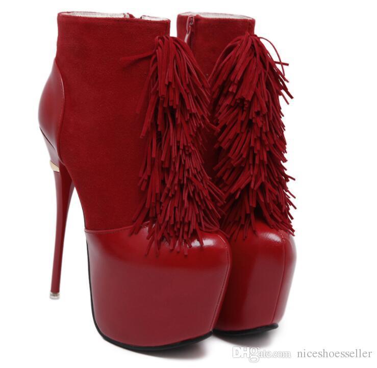 Compre Super Tacones Altos Botines Mujer Plataforma Damas Cremallera Botas  Cortas Zapatos De Piel Para Mujer Negro Rojo Sexy Otoño Invierno Botas  Patchwork ... ffadca18ff7f