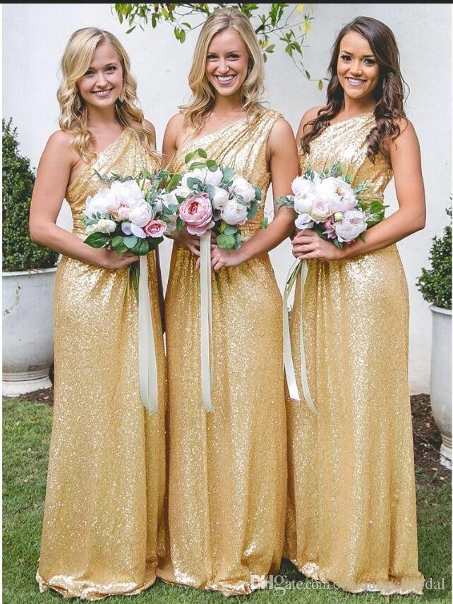 8bd142ebf05 Rose Gold Yellow Sequins Bridesmaid Dresses 2019 One Shoulder Pleats Long  Floor Length Plus Size Formal Weddings Guest Maid Of Honor Gowns Bridesmaid  Beach ...