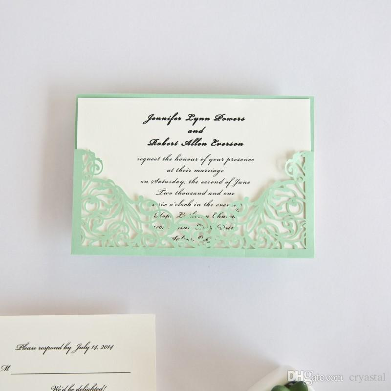 elegant mint green laser cut pocket wedding invitations customized
