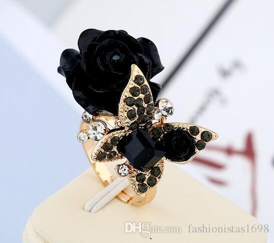 Anillo de flor de resina de rosa anillo de mariposa de diamantes de imitación de viento nacional anillo ajustable de aleación bohemia retro envío gratis