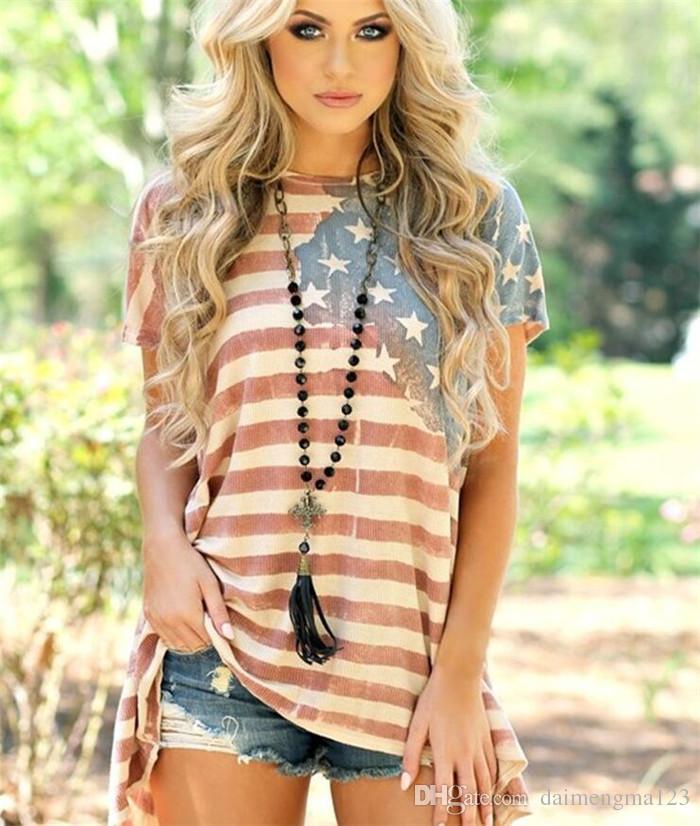 Women American Flag Asymmetric T-Shirt O Neck Striped Short Sleeve Summer 2018 Tops Fashionable Casual Female Tees M199