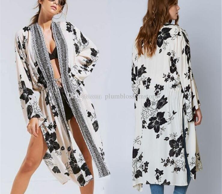 898c5011e9 2019 Elegant Floral Printed Kimono Blouses Shirt Women Fashion Long  Cardigan Tops Summer Casual Beach Bohemian Cotton Bikini Swimwear Cover Ups  From ...