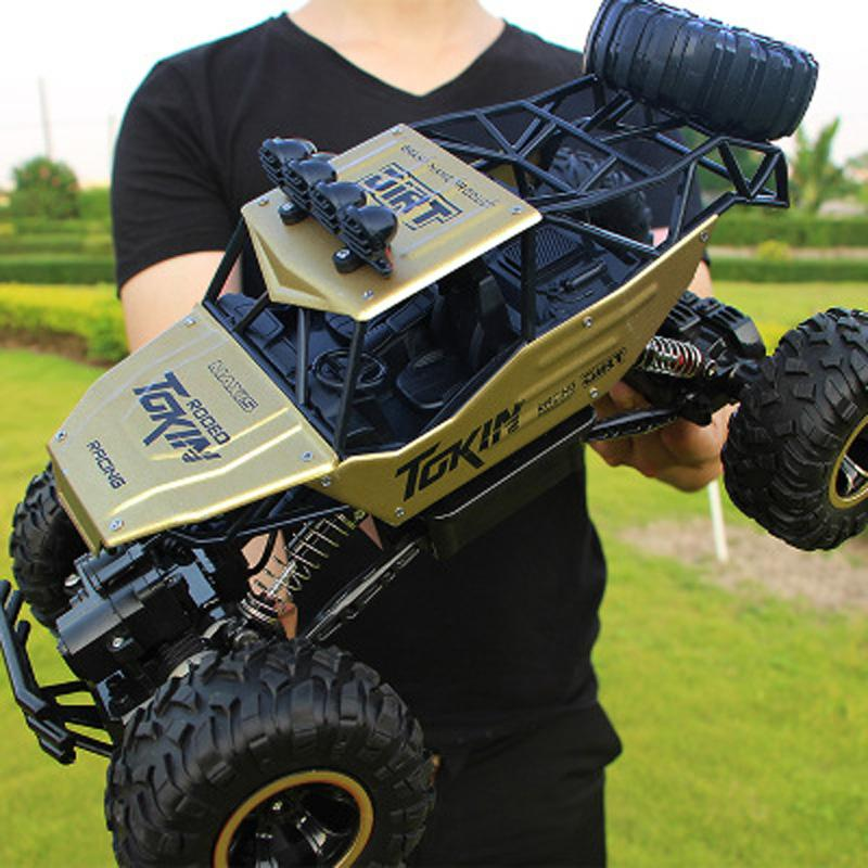 1:12 Large 37cm Golden Alloy RC Cars 4WD Radio Control LED Light Toys Trucks Off-Road RC Cars Toys for Children Christmas Gifts