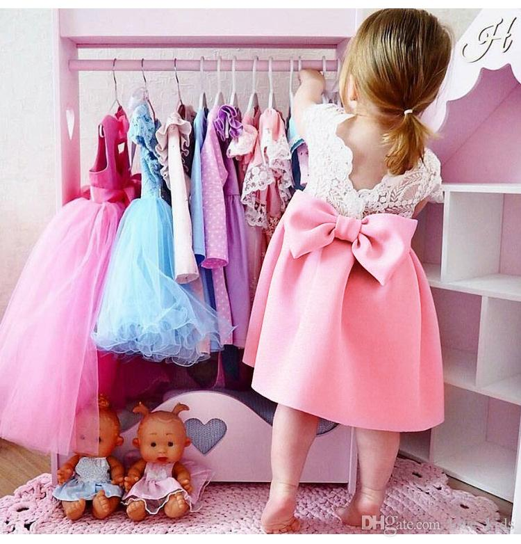 Baby lace butterfly backless princess skirt with big bow kids party prom dress infant toddler baby girl summer dress clothes pink blue color