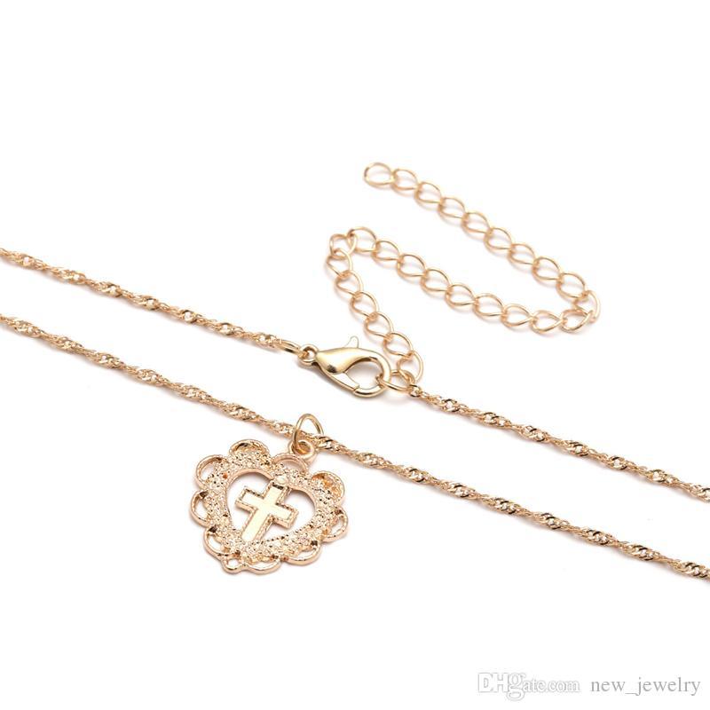 Elmaslar ile Hollow retro basit kolye altın gümüş alaşım ile çapraz kalp kolye kolye takı kadınlar için sevgililer Günü