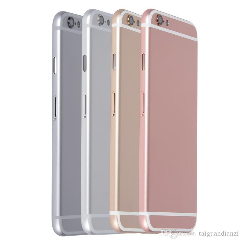Vivienda Volver para el capítulo de iPhone 6 6G tapa de la batería cubierta de la caja Medio reemplazo Chasis Cuerpo Negro Oro Plata + IMEI