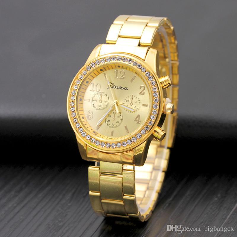a0a346ac638 Compre Homens Relógio De Moda De Genebra De Aço Inoxidável Numerais De Quartzo  Analógico Relógio De Pulso Esporte Mulheres Genebra Unisex Relógios De ...