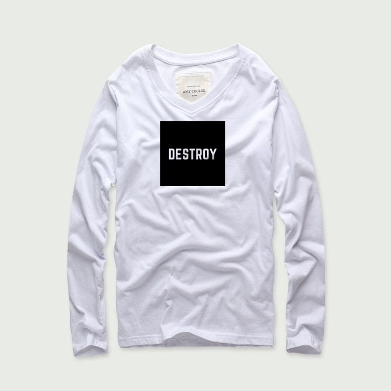 d8b4f701034 Men Destroy Letters Print V Neck Long Sleeve T Shirt Men Cotton Casual Tee  Shirt Black Funny Print Tops Tee Basic T Shirt Funny Rude T Shirts Trendy Mens  T ...