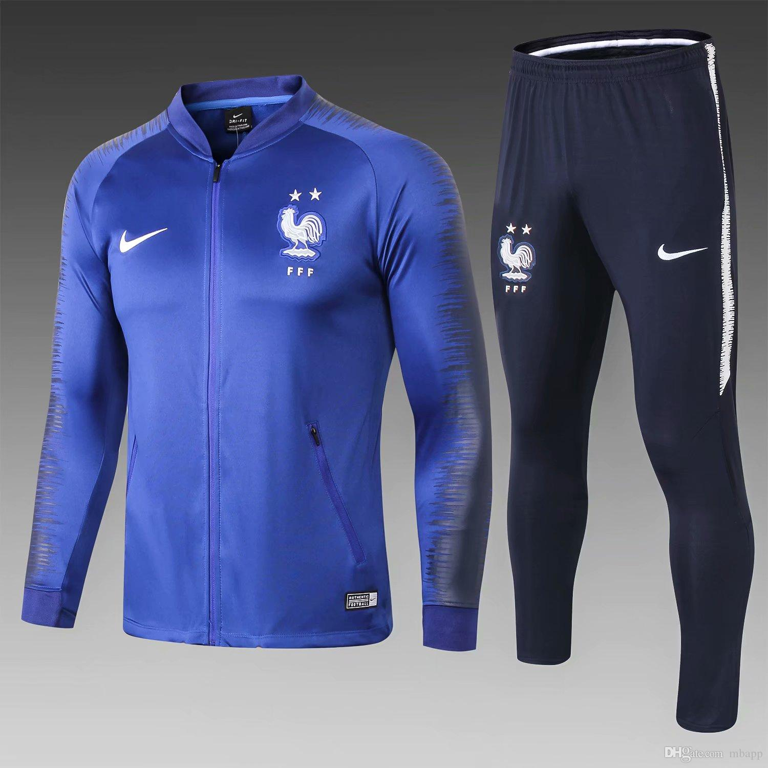 uk availability 1a65a 2ebdf Best quality new 2 star French jersey GRIEZMANN POGBA football training  suit 2018 World Cup jersey KANTE jersey football MBAPPE jacket
