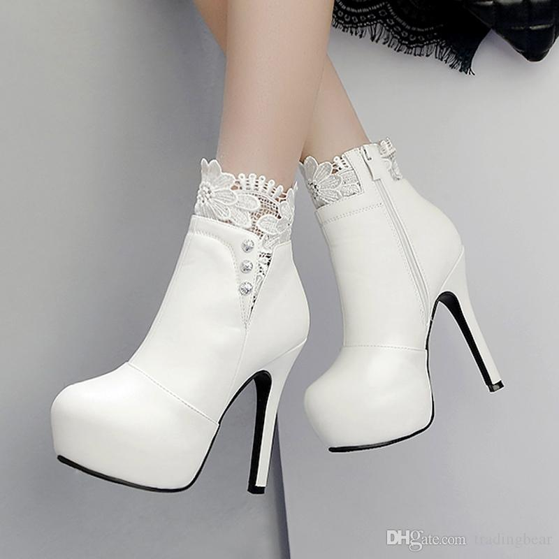 43dab97ef7 bride wedding shoes boots white lace rhinestone high heel ankle boots  winter women size 34 to 39