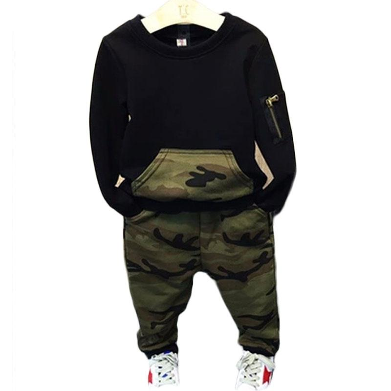 Baby Boy Camouflage Tracksuit 2 Pieces Cool Sport Summer Clothing Set T-Shirt Top and Short for 3-7 Years Old Little Kid