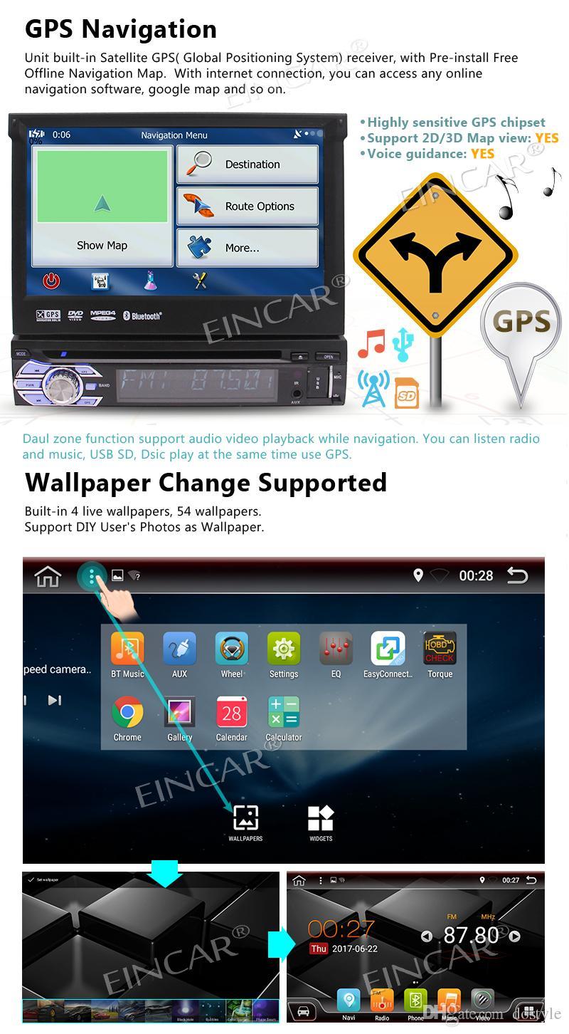 안드로이드 6.0 1Din 자동 라디오 스테레오 멀티 스크린 자동차 DVD 플레이어 + GPS, BT, RDS, 와이파이, 터치 스크린 + 후면보기 카메라 + 원격 제어