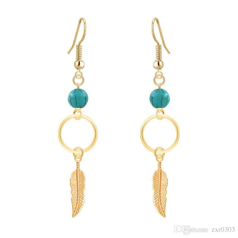76d0cbffab New Bohemia Vintage Dangle Earing Feather Leaves Leaf Long Tassel Leaf Drop  Earrings Wedding Jewelry Brincos Pendientes