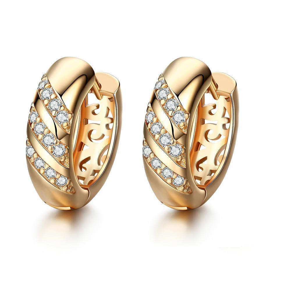 womens gold image round earrings stud diamond small white from