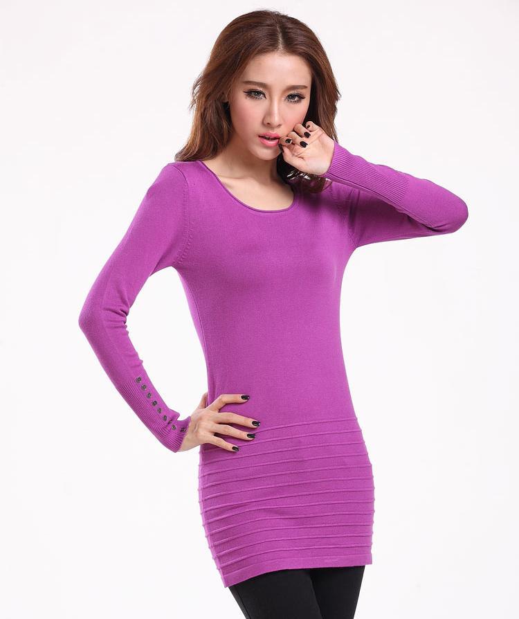 Frauen-Strickjacke-Kleid-koreanische Art und Weise O-Ansatz lange Hülsen-feste Frauenstrickjacken und -pullover Damen Mitte-lange zufällige Kleider.