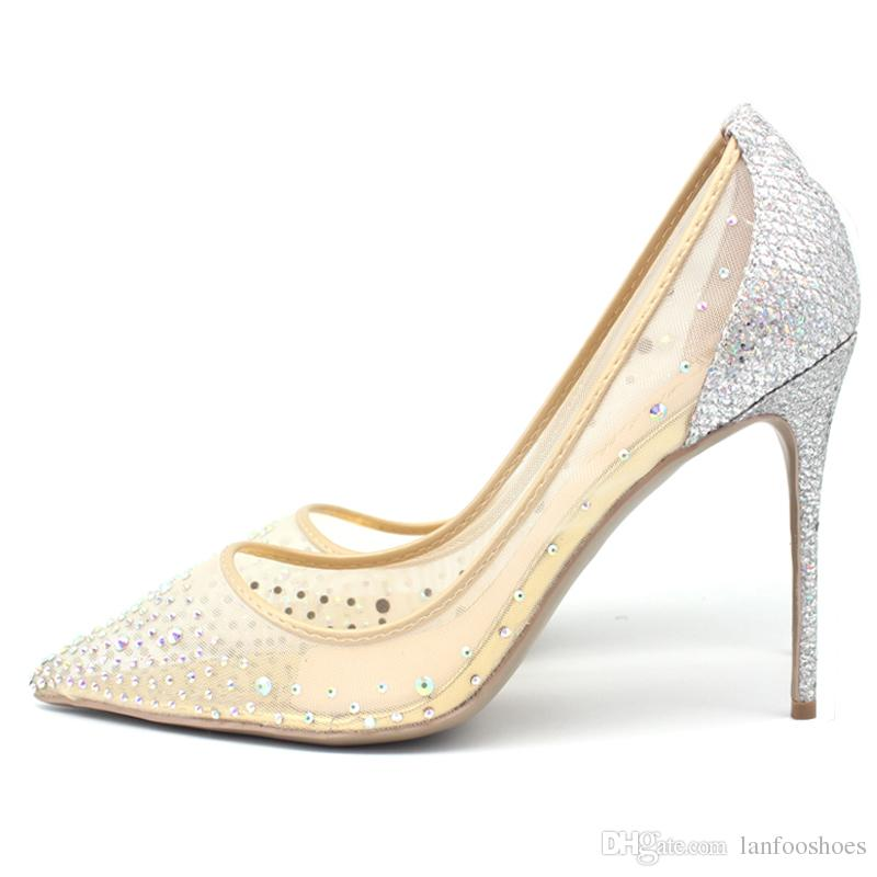 0d30b8419474 High Heels Crystals Bling Silver Pumps Pointed Toe Women Pumps Mesh Party  Wedding Stiletto Shoes Thin Heels Deck Shoes Boat Shoes For Men From  Lanfooshoes