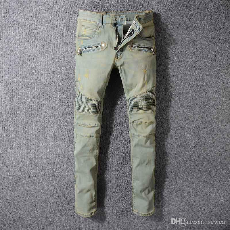 fb932d96f74a Luxury Brand Designer Pierre Runway Men s Biker Skinny Jeans Paris Vaqueros Mens  Denim Trousers Scratched Hole Jeans Men Cotton Pants Online with ...