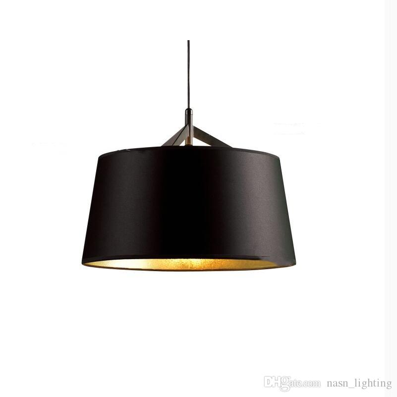 Modern European Simple black gold inside PVC fabric shade Pendant lights lamp for Hotel Living Room Restaurant dining room cafe kitchen