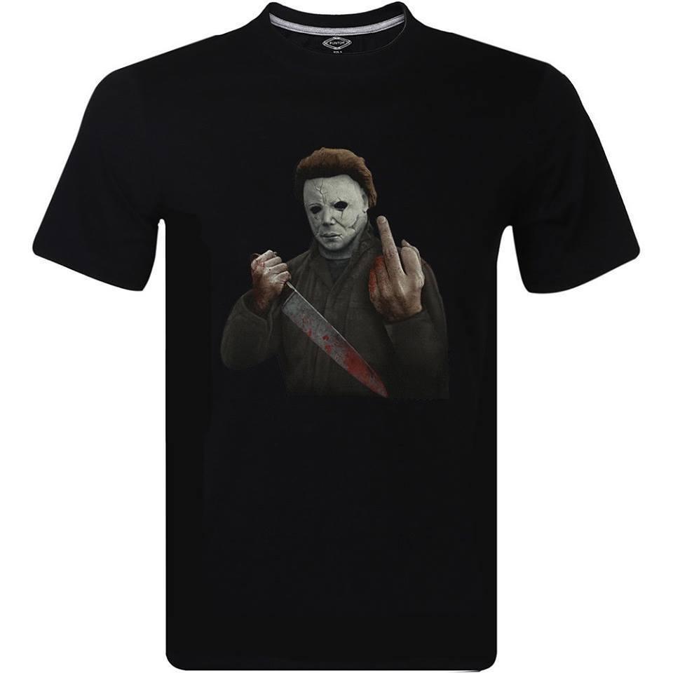 589c2a1b Michael Myers Halloween Middle Finger Horror Movie Film T-Shirt Men's Black  Tee 2018 High quality Brand Men T shirt Casual Short sleeve