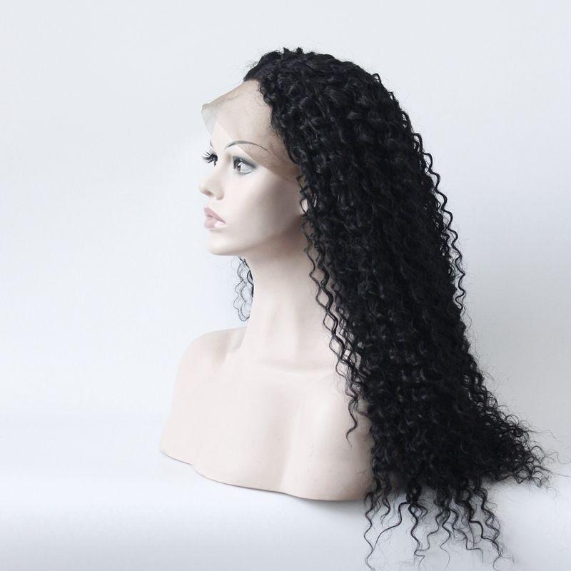 Parrucca anteriore in pizzo sintetico Parrucca afroamericana riccia resistente al calore senza glueless Parte laterale naturale