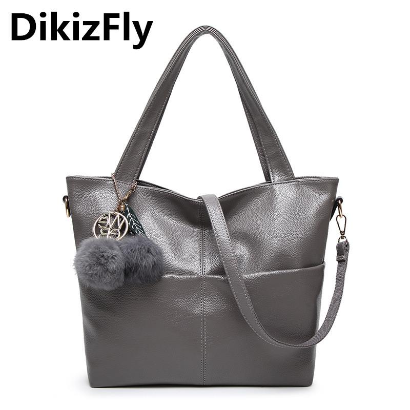 DikizFly Women Bag Pu Leather Tote Brand Name Bag Ladies Handbag Lady Bags  Solid Female Messenger Bags Travel Fashion Sac A Main Womens Purses Leather  Bags ... ee53a2ed3a286