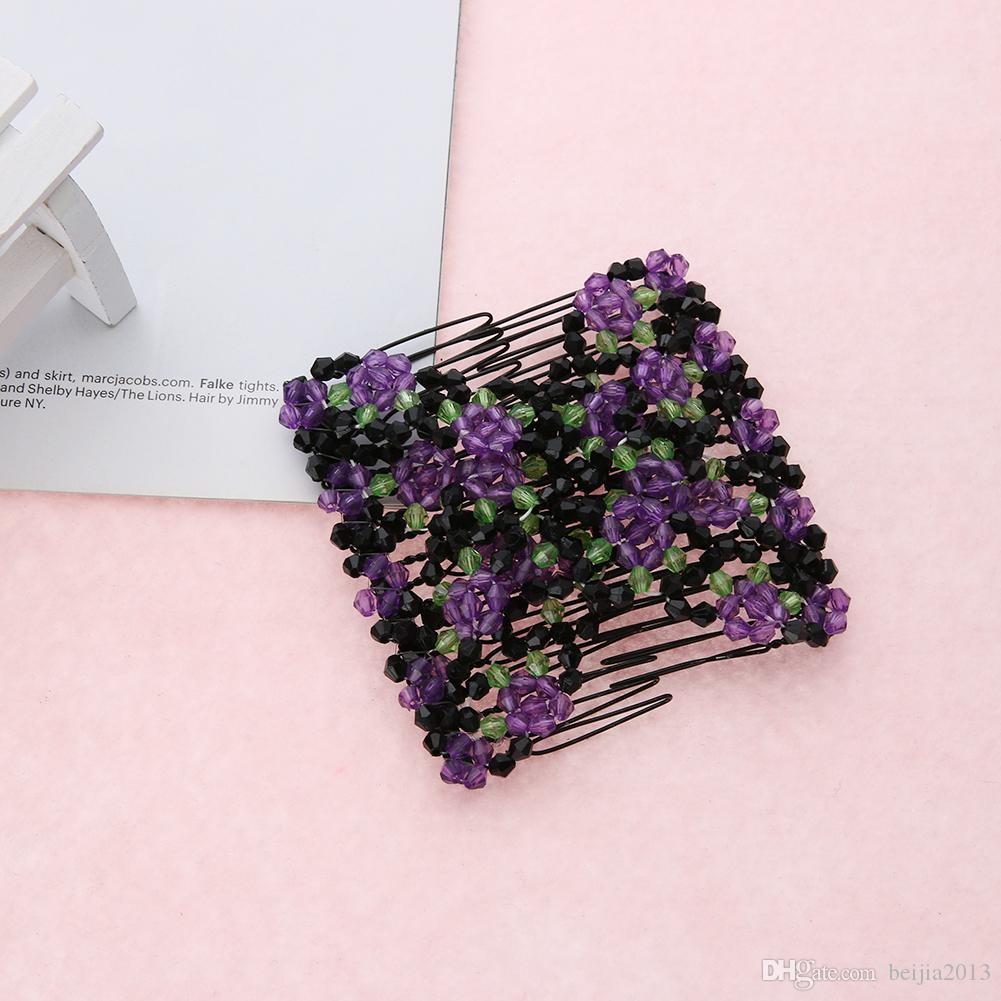 Vintage Flor Bead Stretchy Hair Combs Double Magic Slide Metal Metal Clear Clipins Para Mulheres Presente De Acessórios De Cabelo
