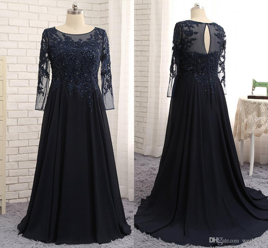Vintage Navy Blue Mother Of The Bride Groom Dresses Long Sleeves ...