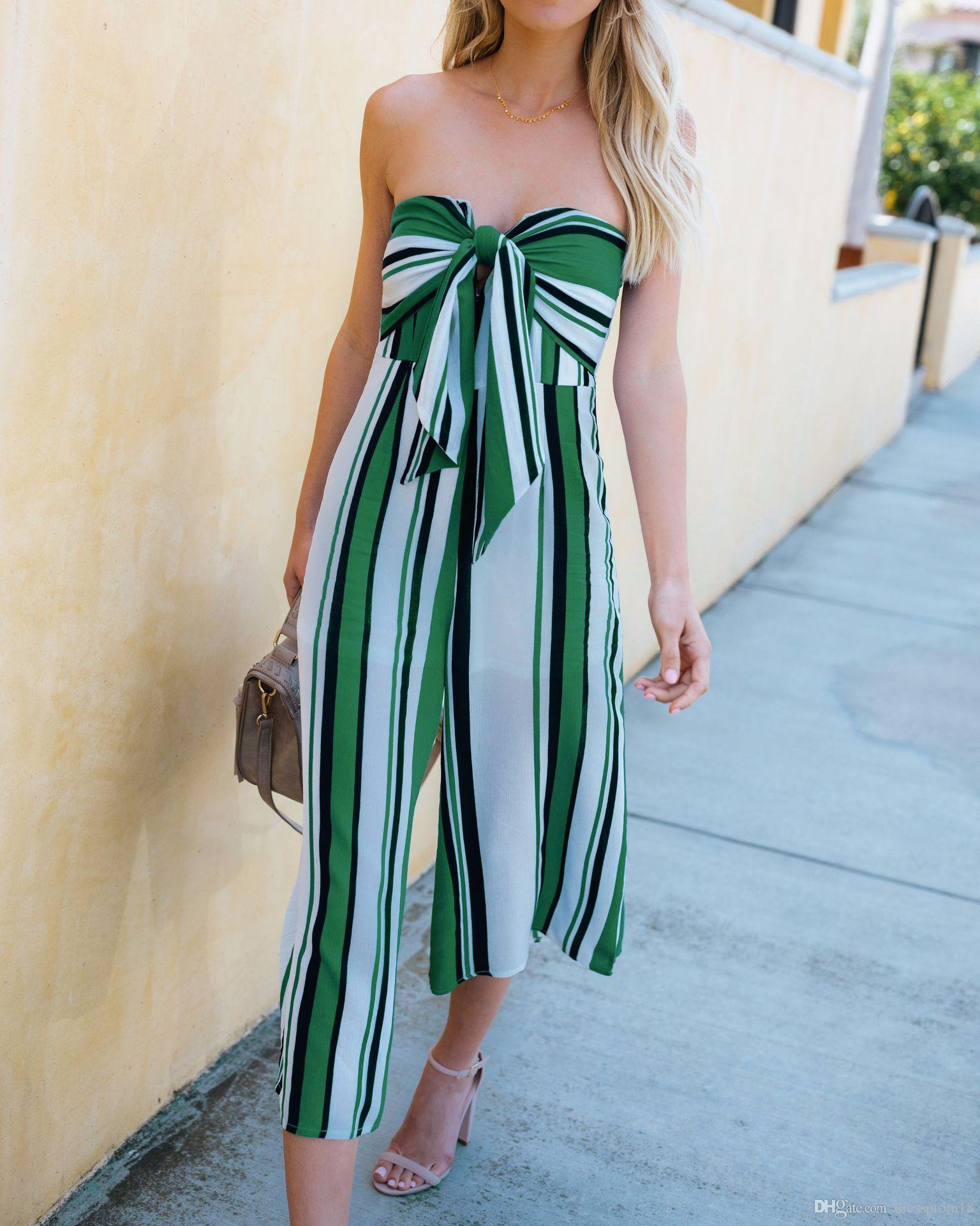 7076ddc69ebcb4 2019 Womens Sexy Strapless Bowknot Tie Bust Colorblocked Striped Jumpsuit  Sweetheart Neck Loose Capris Rompers Casual Playsuit Summer From  Dressprom18, ...