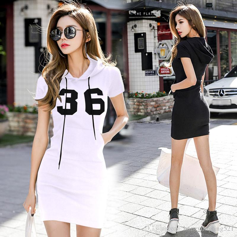New Sexy Korean Fashion Women S Hooded Short Sleeve Letter Number