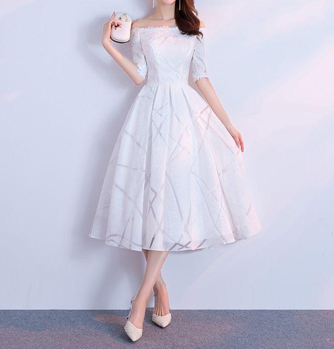 8de9b130d05 Ivory Bridesmaid Dresses Strapless Half Sleeves Zipper Back Tea Length  Wedding Party Dresses Cheap Plus Size 2018 Bridesmaid Dress Sale Bridesmaid  Dress ...